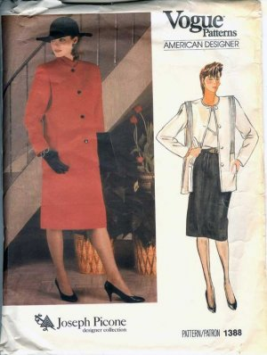 Vintage Vogue Pattern 1388 Joseph Picone jacket & skirt Size 12