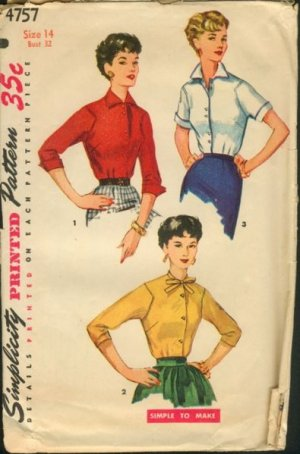 Vintage Simplicity Blouse Pattern #4757 Size 14