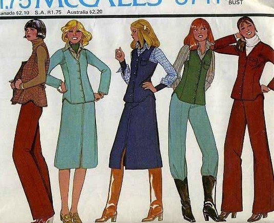 Vintage McCalls pattern 5711 Vest, jacket, skirt, pants Size 12