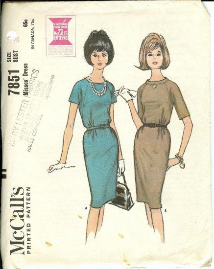 Vintage 1965 McCall's Ladies DRESS pattern #7851.