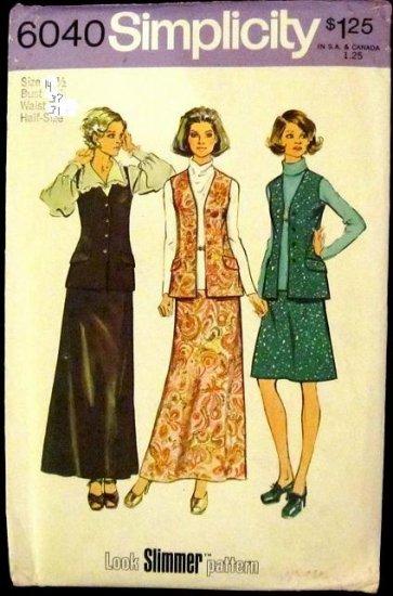 Vintage Simplicity 6040 Skirt, Vest Pattern Size 14 1/2