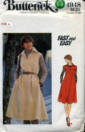 Vintage Butterick Fast & Easy Dress Pattern 4948 Size 14