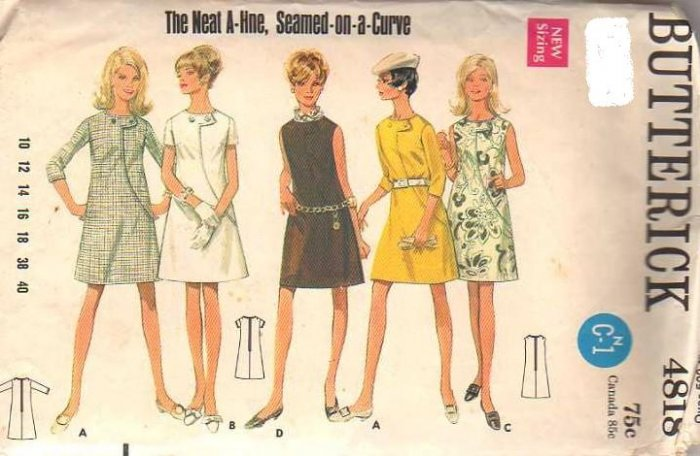 Vintage Butterick 4818 Dress pattern Size 12