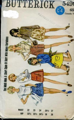 Butterick 5490 retro mini skirt pattern 1960's