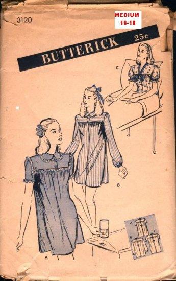 Vintage Hospital Gown Pattern Butterick 3120