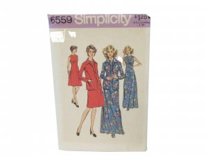 Vintage Simplicity 6559 Pattern, Misses Dress and Jacket Size 14 & 16 Uncut