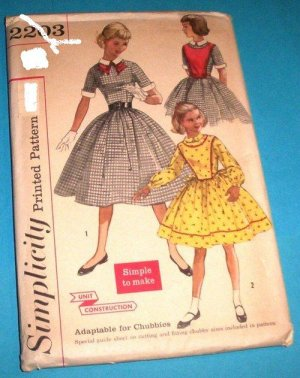 Vintage Simplicity Girls Dress Plastron pattern 2203 Size 10