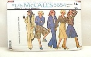 Vintage McCall's Sewing Pattern 5654 Jacket Culottes Pants Size 14 B36