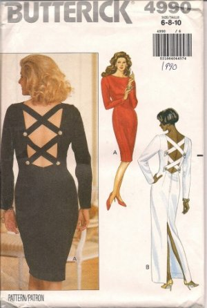 Butterick pattern 4990 Dress evening uncut OOP size 6, 8, 10