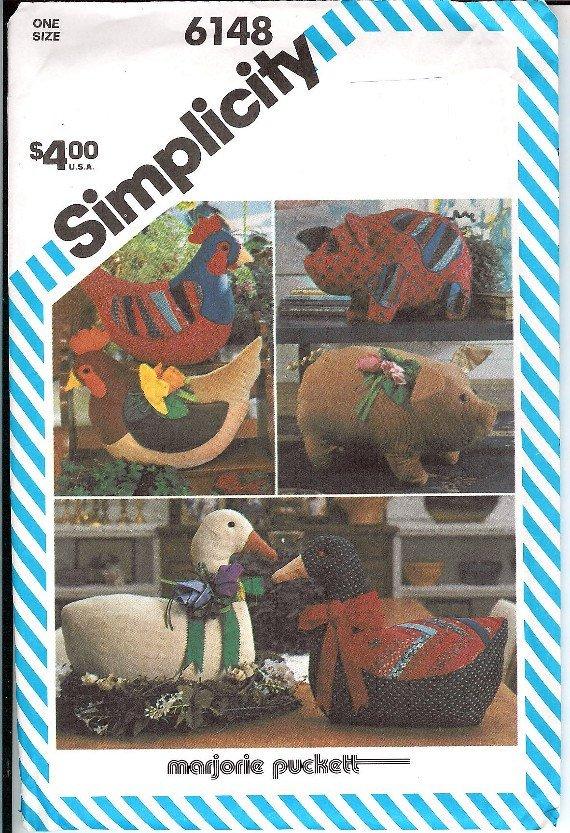 UNCUT Goose, Hen, Pig, flower Marjorie Puckettn pattern 6148 Simplicity stuffed animals