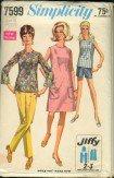 Vintage Simplicity 7599 Jiffy Pattern dress, overblouse, pants, shorts