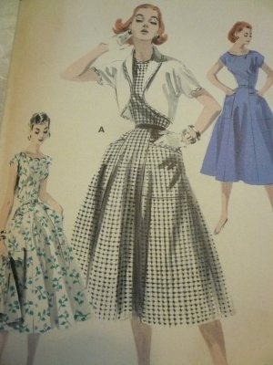 Vintage Butterick pattern 7687 DRESS AND BOLERO JACKET SET Size 16, B34