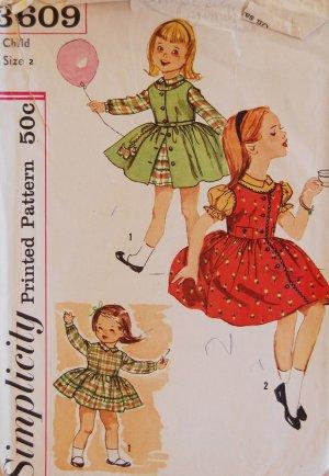 Simplicity 3609 Vintage Children's Dress Pattern Girl's Size 2