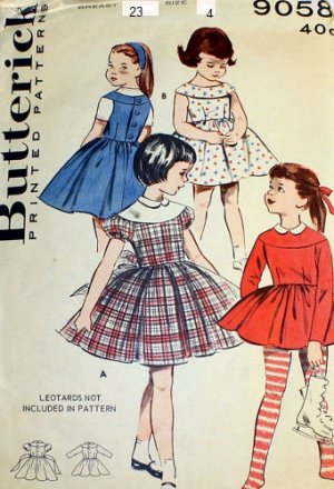 Vintage Girl's sewing pattern Butterick 9058 Size 4 Dress, Jumper & Skating Outfit