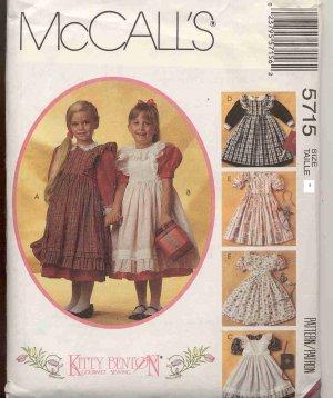 McCall's 5715 Children's Dress Girl's Pinafore Kitty Benton UNCUT Size 6