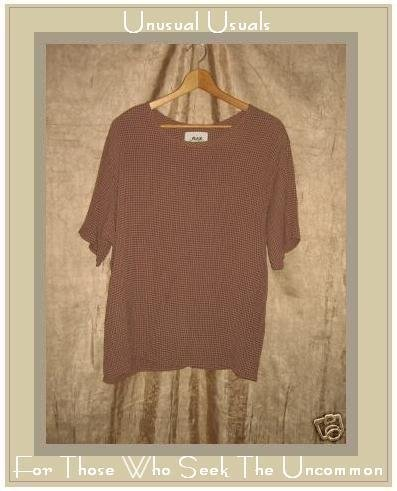 Flax by Jeanne Engelheart Chocolate Check Rayon Shirt Small S