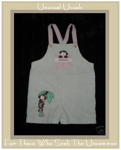 Adorable Monkey Business Green Gingham Overalls 4T EUC
