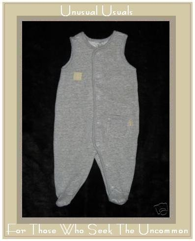 H & M BABY Soft Gray Striped Velour Romper 2-4 M 0-3M