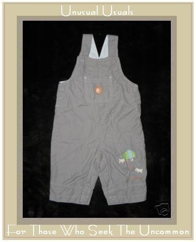 Lullaby Club Favorite Walk Gray Woof Overalls 3-6 Month