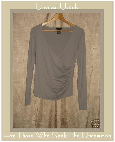 HENNES Soft Gray Cross Wrapped Stretch Shirt Top MEDIUM M