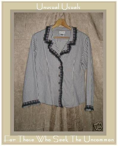 NEESH by DAR Shapely Floral Fur Trim Striped Jacket MEDIUM M