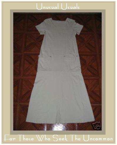 CLOTHESPIN Cream Cotton Twenties Theme Dress MEDIUM M