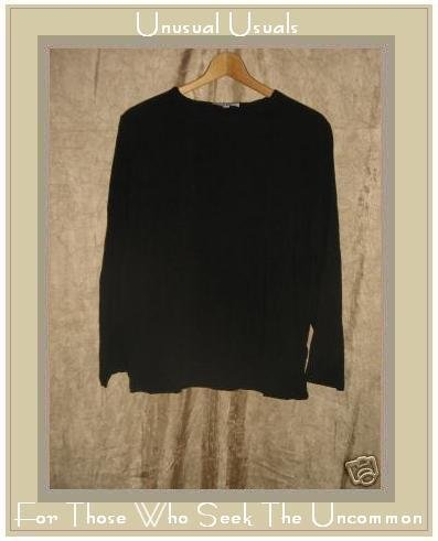 EARTH TONES by ALY WEAR Black Pullover Tunic Top Shirt SMALL S