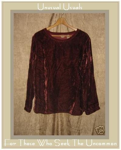 J. JILL Merlot Rayon Velvet Shirt Top MEDIUM M Tall MT