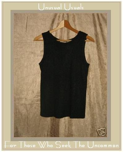 PUTUMAYO Rayon Cotton Knit Tank Shirt Top Shell Black SMALL S
