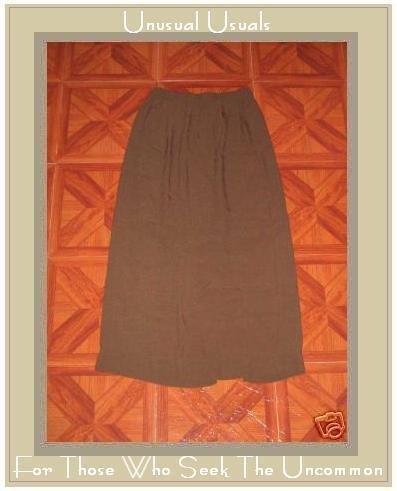 Jeanne Engelhart FLAX Long Brown Check Rayon Skirt S