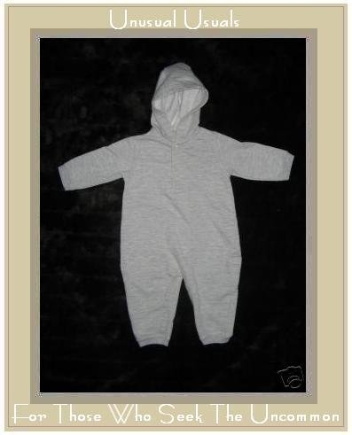 SIMPLY BASIC Soft Gray Hooded Romper 3-6 Months EUC
