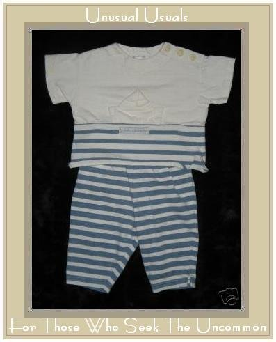 Grain De Lune Blue Striped Shirt & Pants Outfit 6M EUC