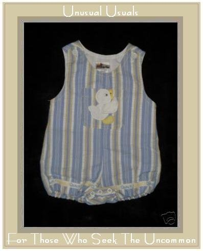 BABY TOGS Sweet Striped Duck Quack Romper 3-6 Month EUC