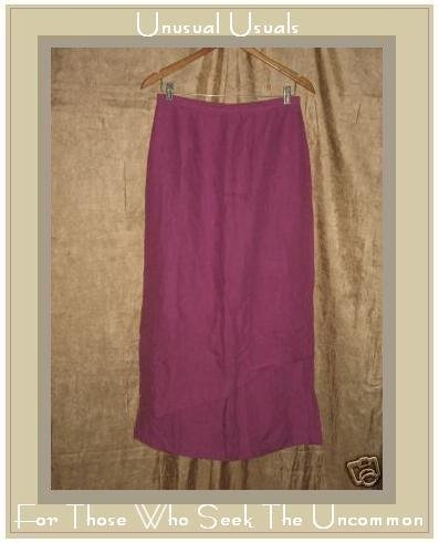 COTE FEMME Long Dark Pink LINEN Layer Skirt Size 8 S M