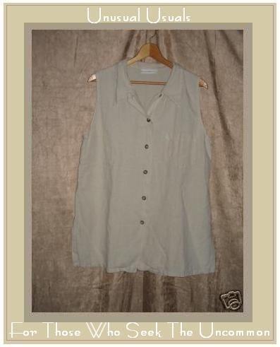 Bryn Walker Long Beige LINEN Tunic Top Shirt LARGE L