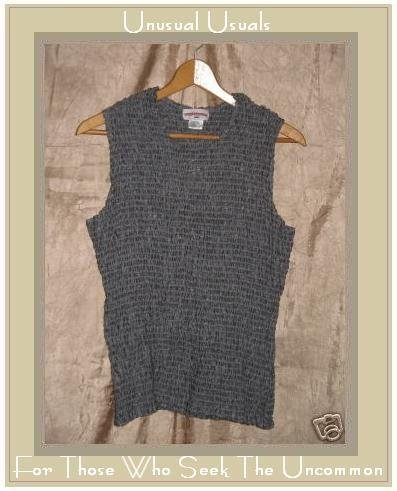 SOLITAIRE Puckered LINEN Pullover Tank Top Shirt LARGE L