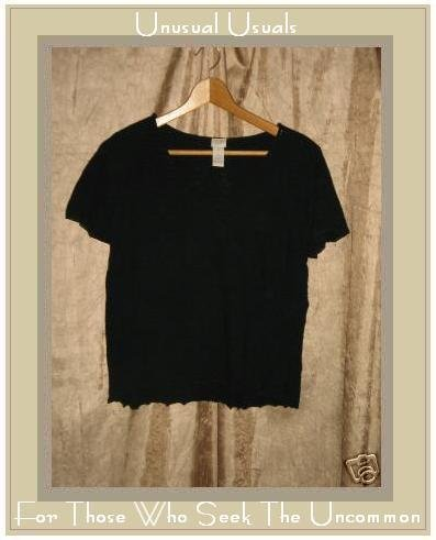 Nice J. JILL Black Silk Sweater Knit Shirt Top MEDIUM M
