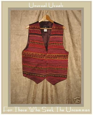 PERUVIAN CONNECTION Nubby Textured Striped Vest Large L