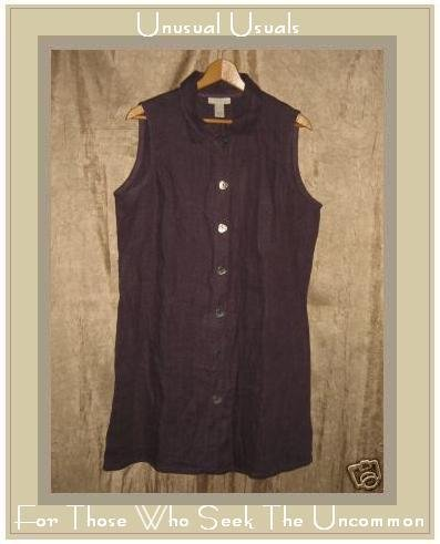 J. Jill Purple Linen Tunic Top Jacket Button Dress LP PETITE LARGE