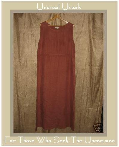 J. Jill Terra Cotta Long LINEN Ruffle Dress Large L