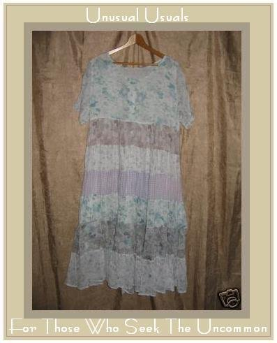 Ethereal light & Airy Floral Hippy Patchwork Dress M L