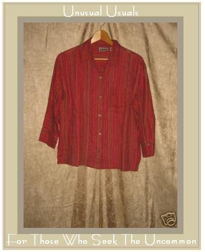 Chico's Design Berry Striped LINEN Button Shirt Top S 0