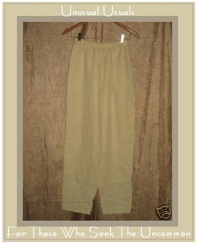 WILLOW Boutique Yellow LINEN Straight Pants Medium M