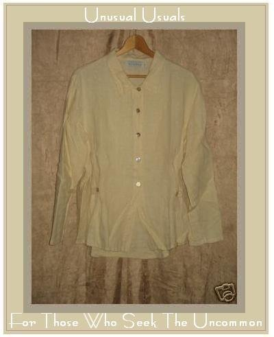 WILLOW Shapely Yellow Linen Button Shirt Top Medium M