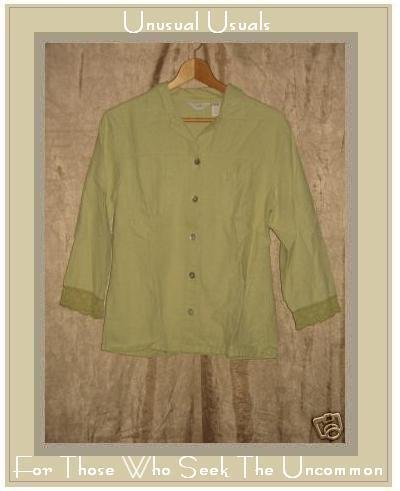 J. Jill Green LINEN COTTON Button Shirt Top Small S