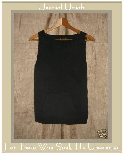 SILX Black Silk Knit Pocket Shell Tank Shirt Top Small S