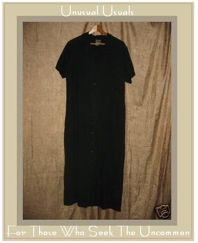 KIKO Comfortable Long Black LINEN Button Dress Large L