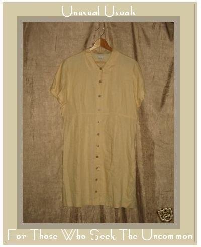J. Jill Soft Yellow LINEN Shapely Button Dress Medium M