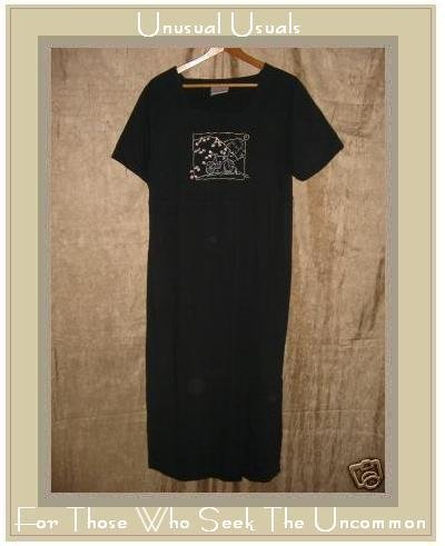 LIZ & JANE CLOTHES Whimsical Soft Black Cotton Dress SMALL S