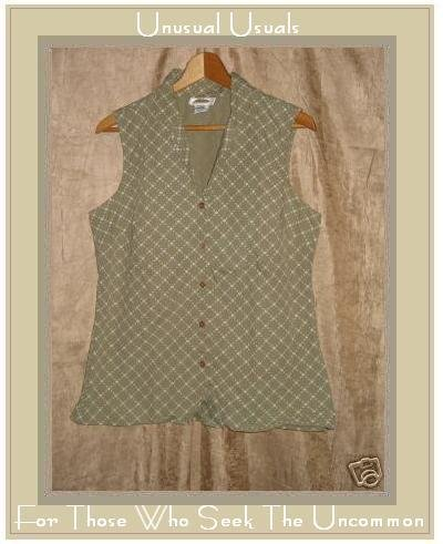 TALBOTS Green & White Sleeveless Button Shirt Top MEDIUM M